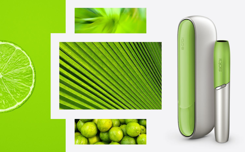 Лаймова, зелена бокова панель і ковпачок на айкос дуо