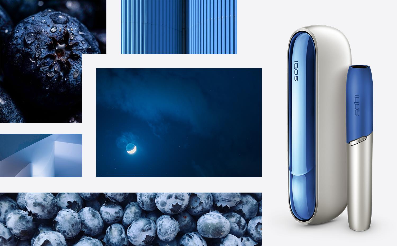 Чорничні, темно-сині бокова панель і ковпачок на айкос дуо